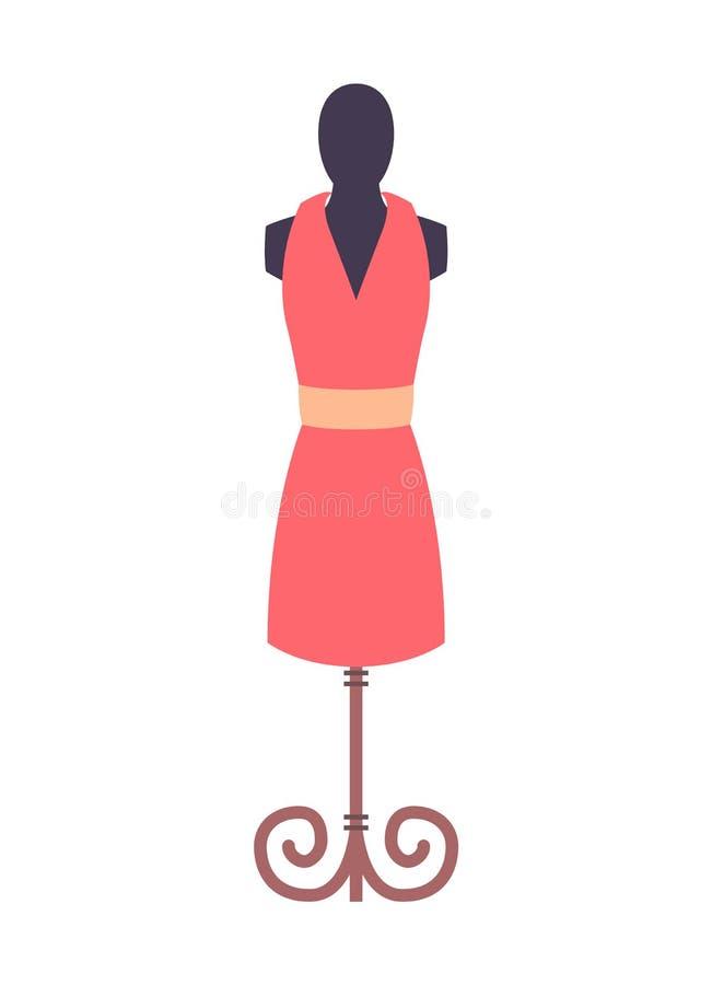 Illustrazione rosa di vettore di modo del manichino del vestito illustrazione di stock