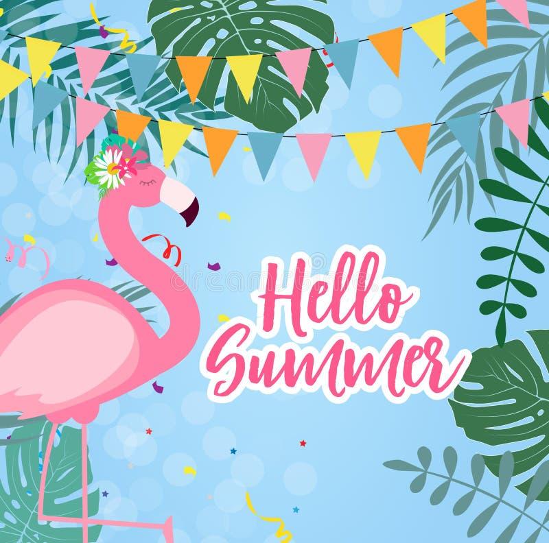 Illustrazione rosa sveglia di vettore del fondo di estate del fenicottero ciao royalty illustrazione gratis