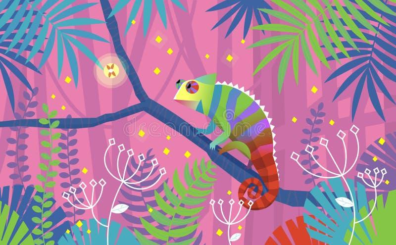 Illustrazione rosa variopinta con la lucertola del camaleonte che si siede su un ramo in giungla tropicale Circondato dalle piant royalty illustrazione gratis