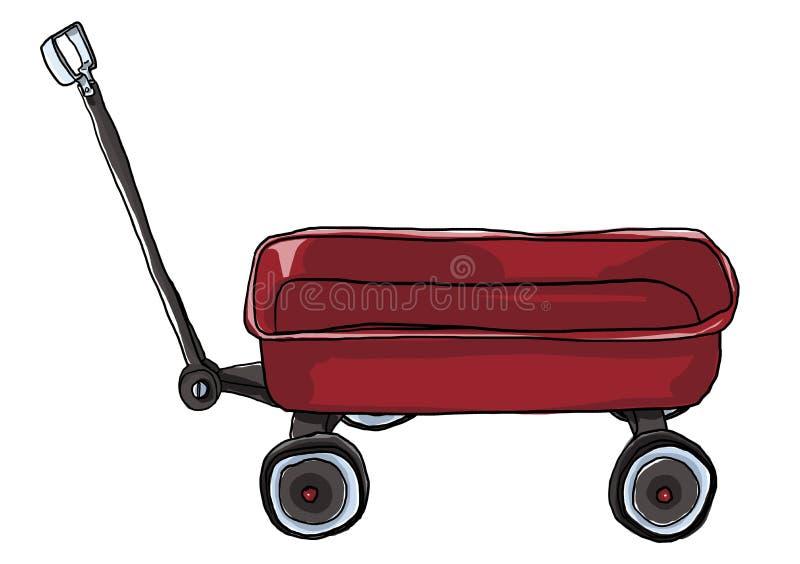 Illustrazione rossa d'annata di Mini Wagon di tirata illustrazione di stock