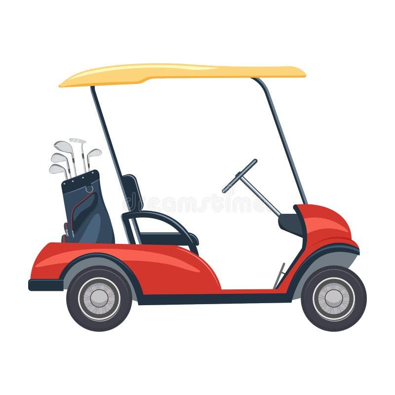illustrazione rossa del carretto di golf Automobile di golf isolata su fondo bianco immagini stock libere da diritti