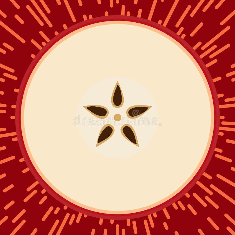 Illustrazione rossa del fumetto di vettore del fondo di stile di Pop art della mela illustrazione di stock