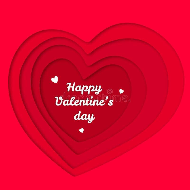 Illustrazione rossa del taglio della carta dei cuori di giorno di biglietti di S. Valentino illustrazione vettoriale