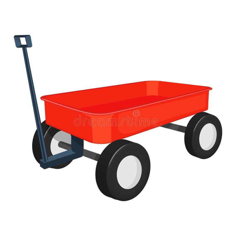 illustrazione rossa del vagone isolata su fondo bianco immagine stock
