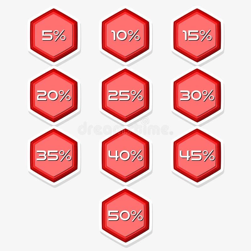 Illustrazione rossa dell'autoadesivo dell'insieme dell'etichetta di vendita di offerta speciale Etichetta di prezzi di offerta di illustrazione vettoriale