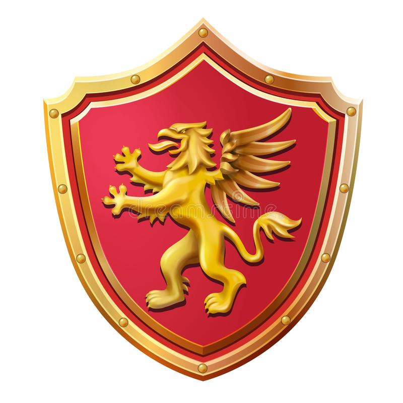 Illustrazione rossa di vettore del grifone dell'oro dello schermo dell'emblema reale illustrazione vettoriale