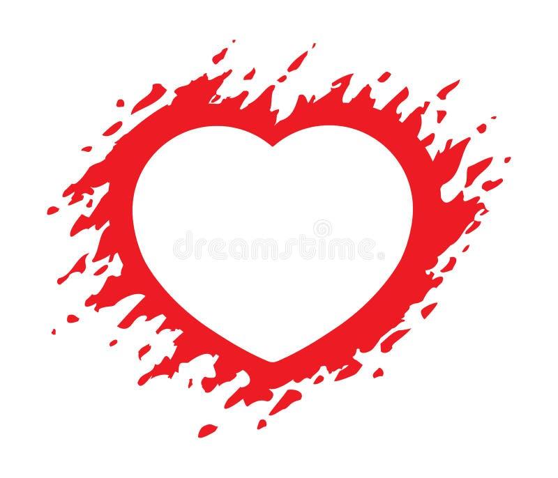 Illustrazione rossa di vettore di forma del cuore di lerciume isolata su bianco Blocco per grafici a forma di del cuore royalty illustrazione gratis
