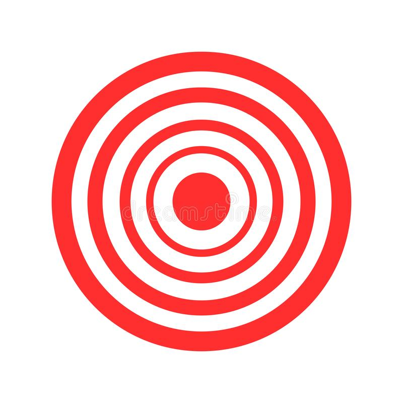 Illustrazione rossa di vettore di tiro con l'arco dell'obiettivo su fondo bianco illustrazione di stock