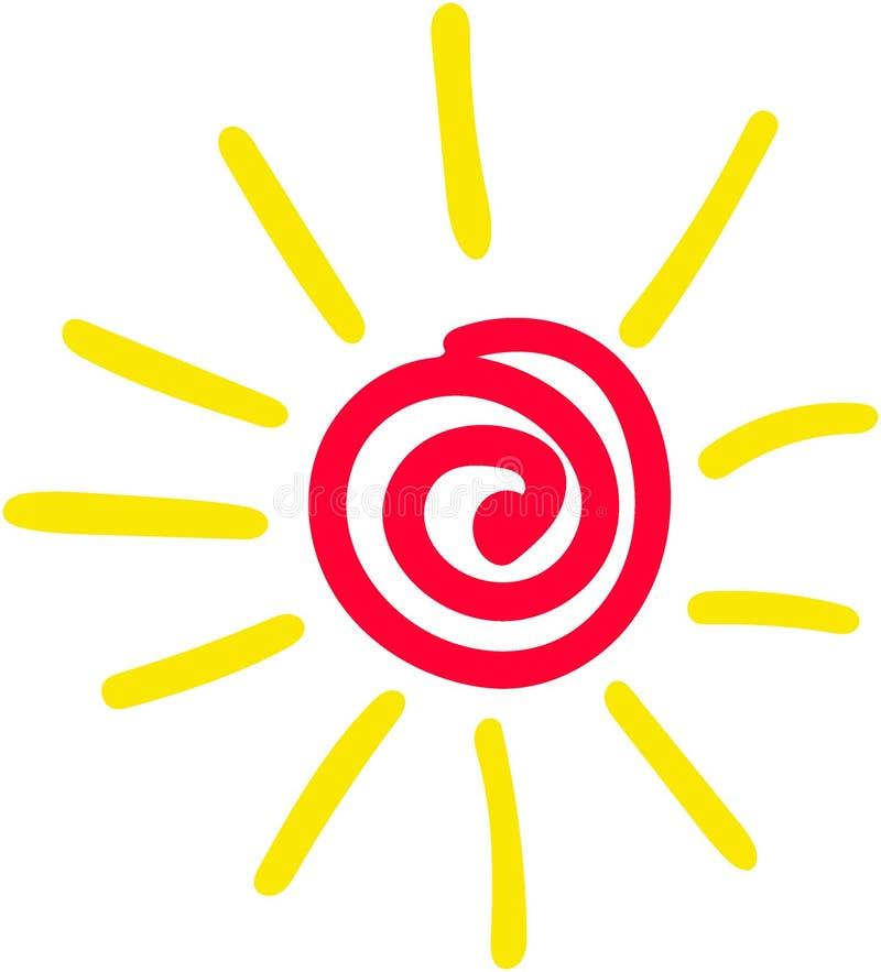 Illustrazione rossa e gialla del sole con i raggi ed incandescenza sopra su fondo bianco come il sole del disegno del bambino royalty illustrazione gratis