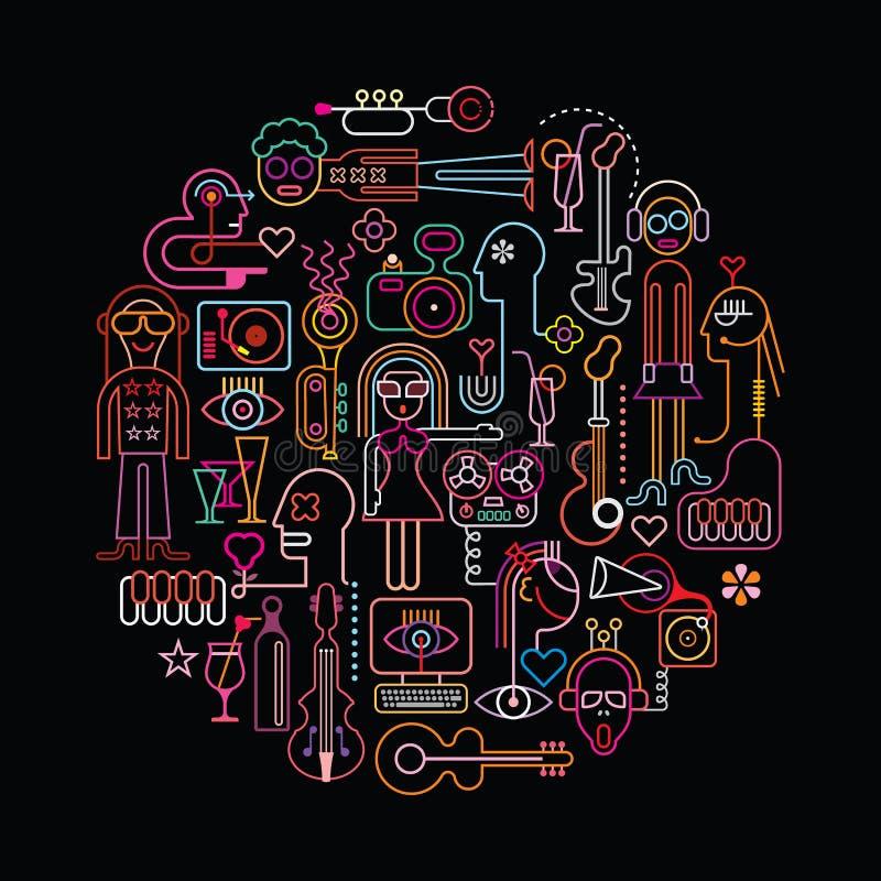 Illustrazione rotonda del partito di discoteca illustrazione vettoriale