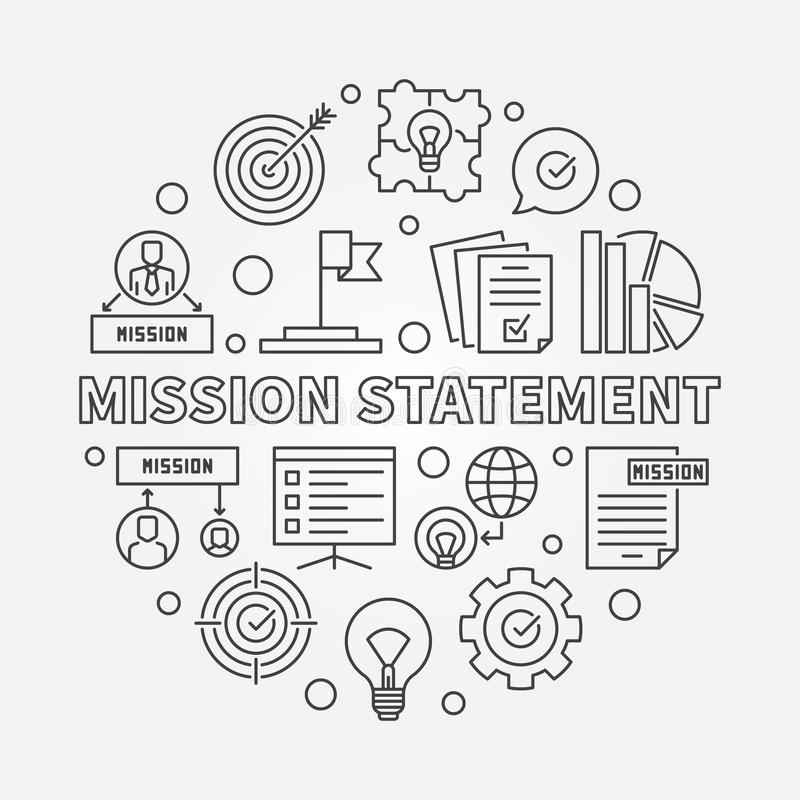 Illustrazione rotonda del profilo di vettore di dichiarazione di missione illustrazione di stock