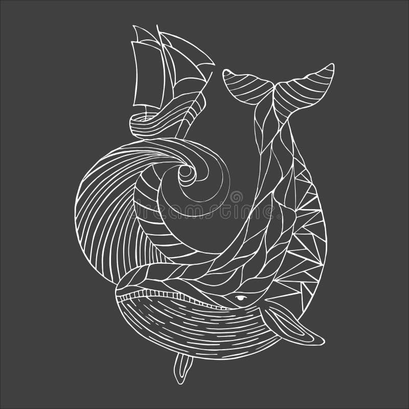 Illustrazione rotonda di vettore disegnato a mano della balena blu Grandi onda e pesce di mare nello stile d'annata Simbolo di vi royalty illustrazione gratis