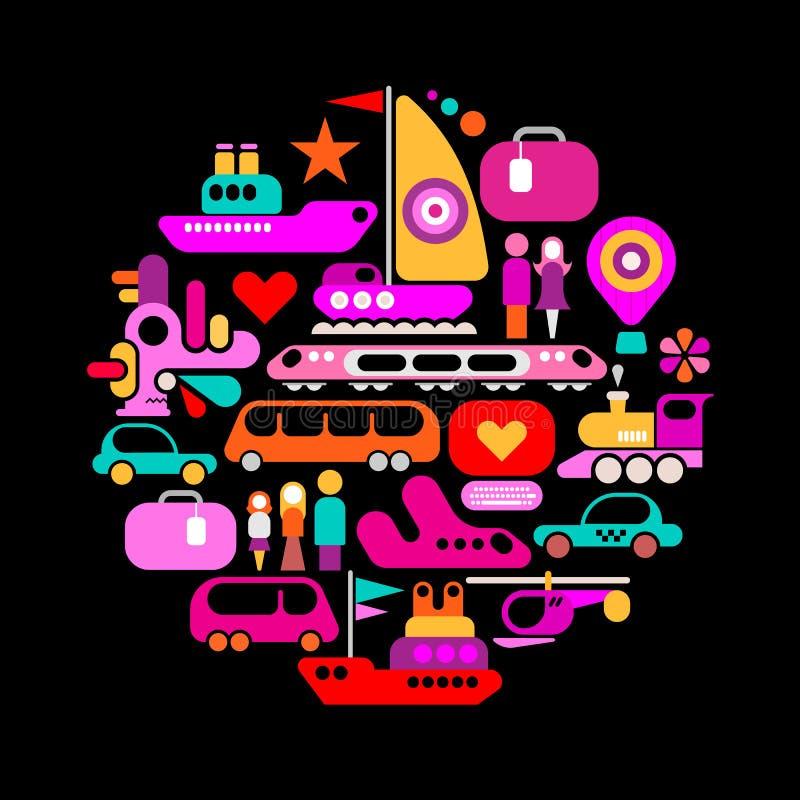 Illustrazione rotonda di viaggio illustrazione di stock