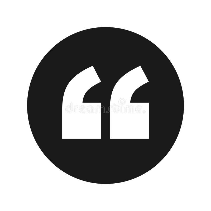 Illustrazione rotonda nera piana di vettore del bottone dell'icona di citazione royalty illustrazione gratis