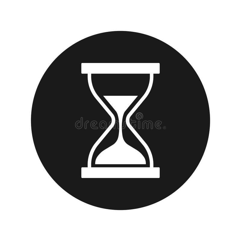 Illustrazione rotonda nera piana di vettore del bottone dell'icona della clessidra della sabbia del temporizzatore illustrazione di stock