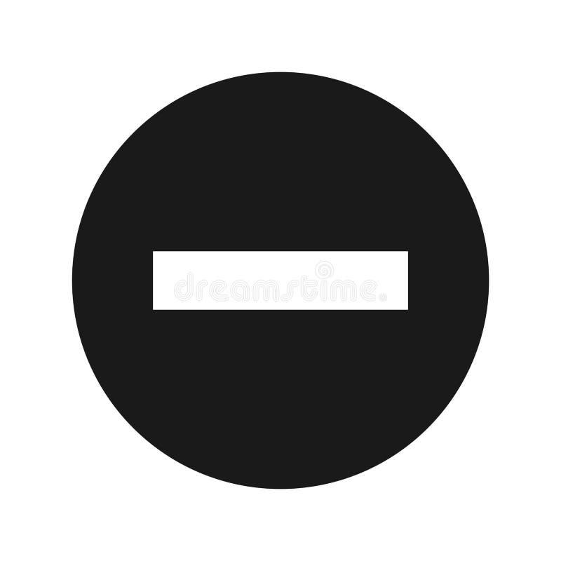 Illustrazione rotonda nera piana di vettore del bottone dell'icona negativa illustrazione vettoriale