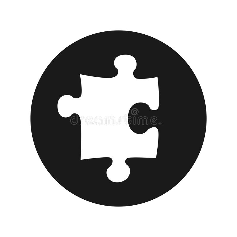 Illustrazione rotonda nera piana di vettore del bottone dell'icona di puzzle royalty illustrazione gratis