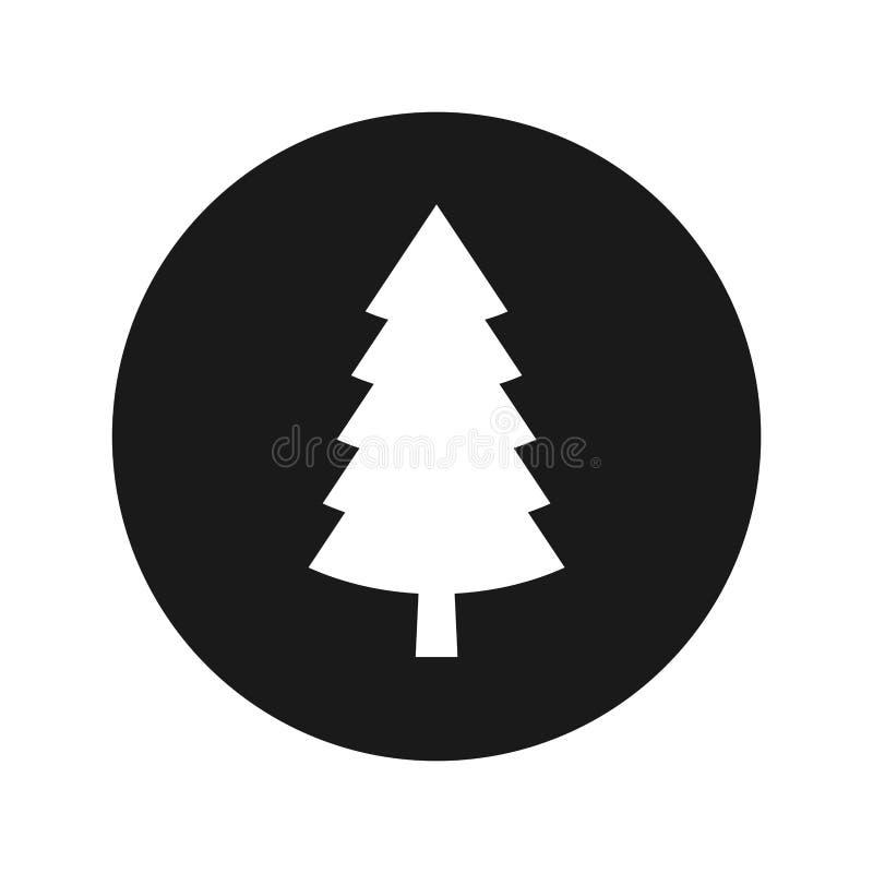 Illustrazione rotonda nera piana di vettore del bottone della conifera dell'icona sempreverde del pino illustrazione vettoriale