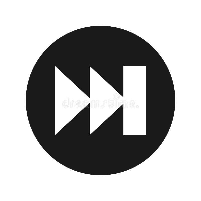 Illustrazione rotonda nera piana di vettore del bottone della pista dell'icona seguente della lista musicale radiofonica royalty illustrazione gratis