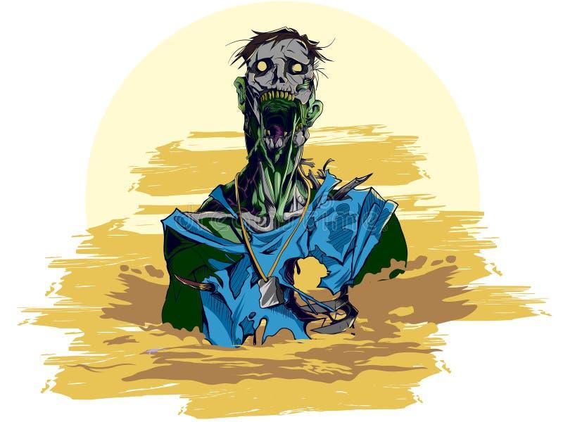 Illustrazione rotta dello zombie delle mandibole immagini stock libere da diritti