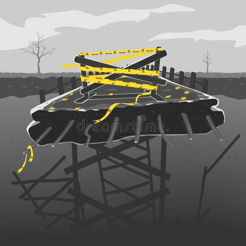Illustrazione rotta di vettore del ponte illustrazione di stock