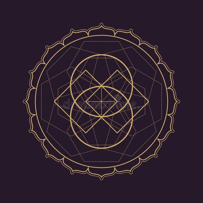 illustrazione sacra della geometria della mandala di vettore illustrazione vettoriale
