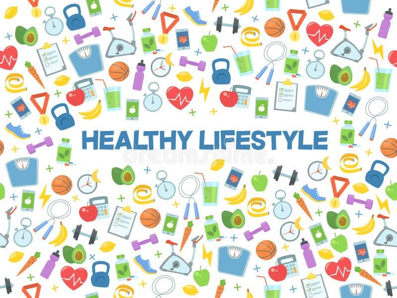 Illustrazione sana di vettore di stile di vita Forma fisica, nutrizione e salute immagini stock libere da diritti