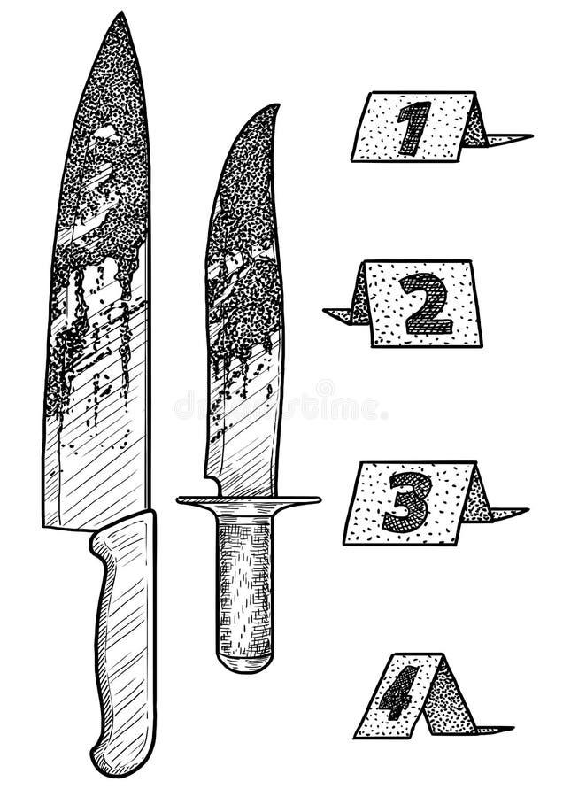 Illustrazione sanguinosa degli indicatori e del coltello, disegno, incisione, inchiostro, linea arte, vettore illustrazione di stock