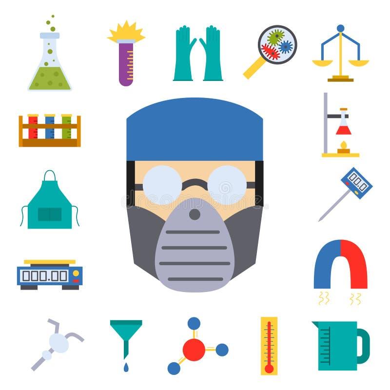Illustrazione scientifica chimica delle icone di chimica di scienza di biologia del laboratorio medico della prova di vettore del illustrazione di stock