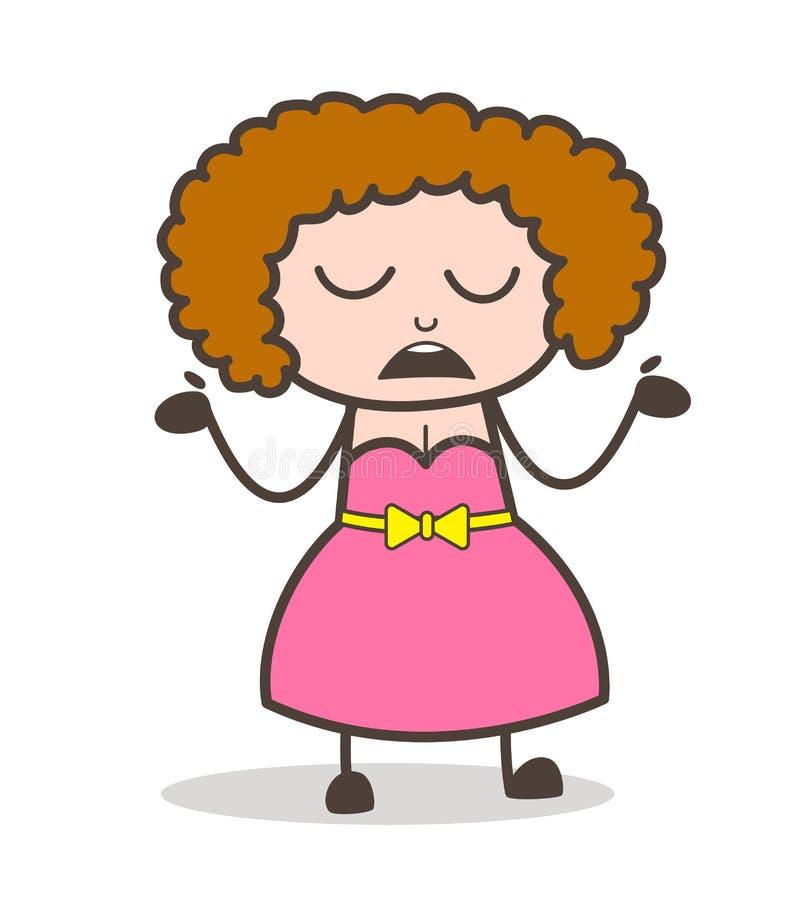Illustrazione sconosciuta di vettore di gesto della giovane donna del fumetto illustrazione di stock