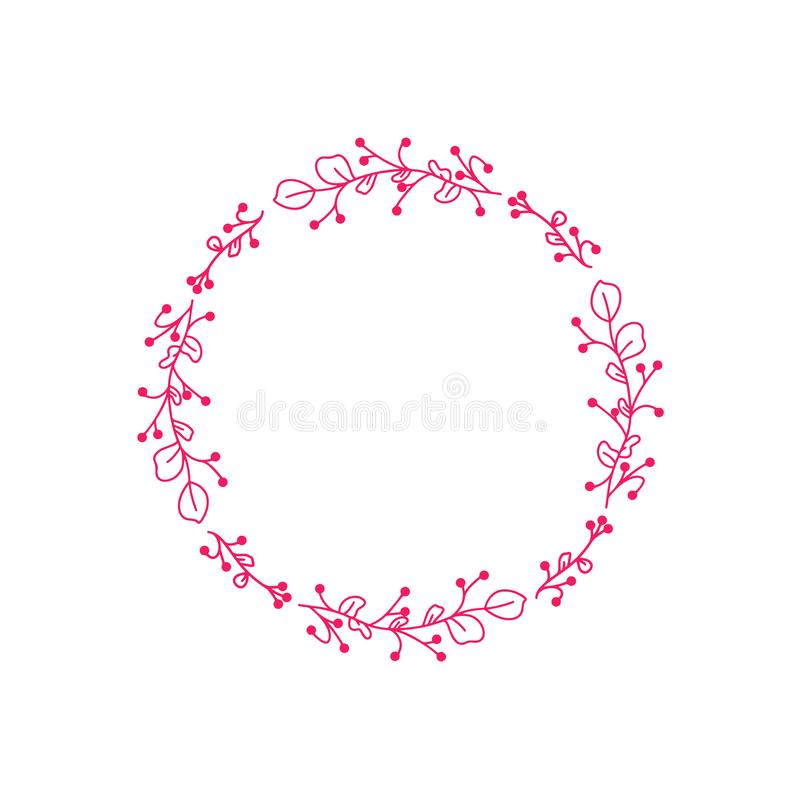 Illustrazione scritta mano sveglia Corona di gioia di stile della primavera Struttura rotonda di vettore disegnato a mano per gli illustrazione di stock