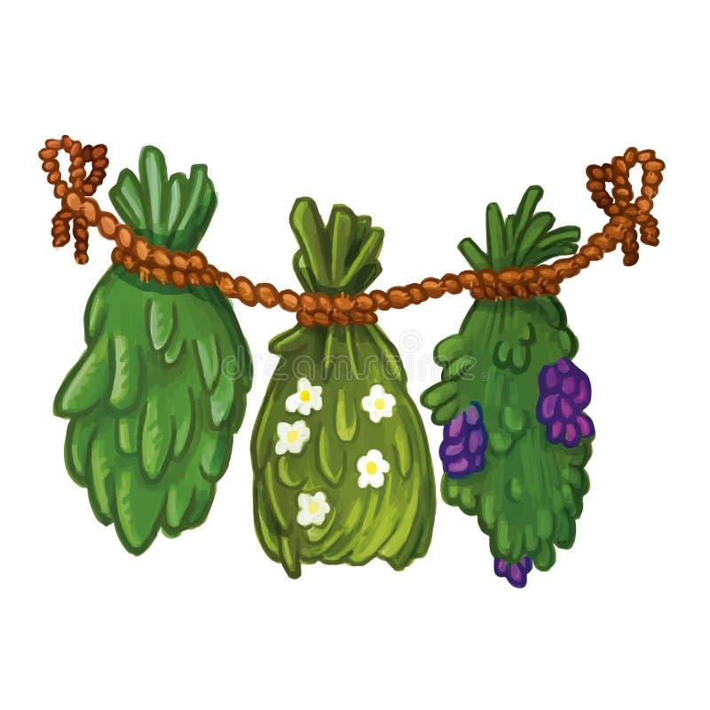 Illustrazione a secco disegnata a mano della ghirlanda delle piante e dell'erba Immagine naturale del fumetto della medicina illustrazione di stock