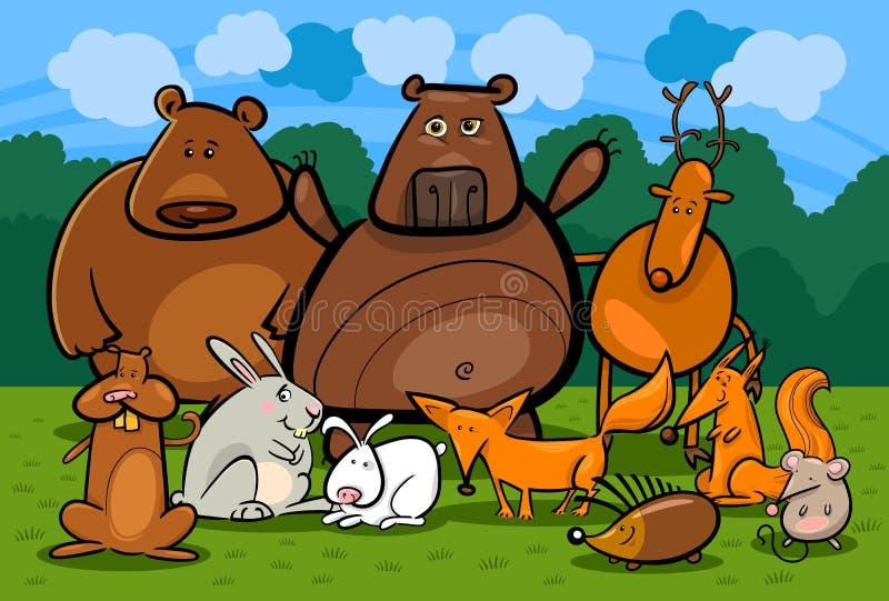 Illustrazione selvaggia del fumetto del gruppo di animali della foresta illustrazione di stock
