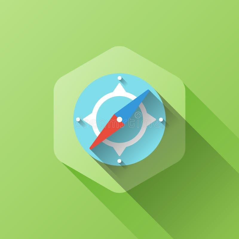 Illustrazione semplice dell'icona della bussola nello stile piano illustrazione di stock