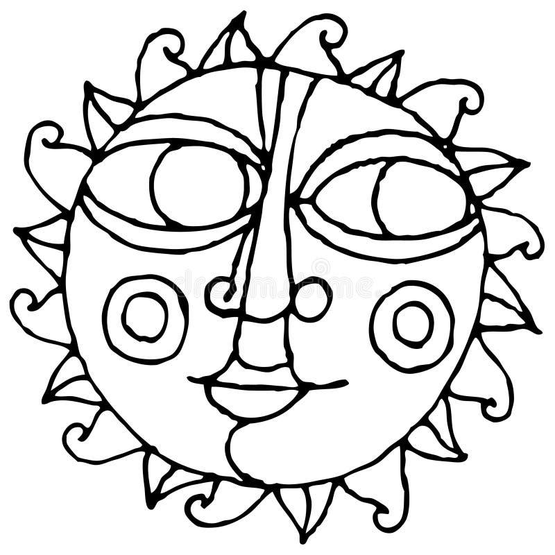 Illustrazione semplice della mano del grande sole dell'occhio in bianco e nero