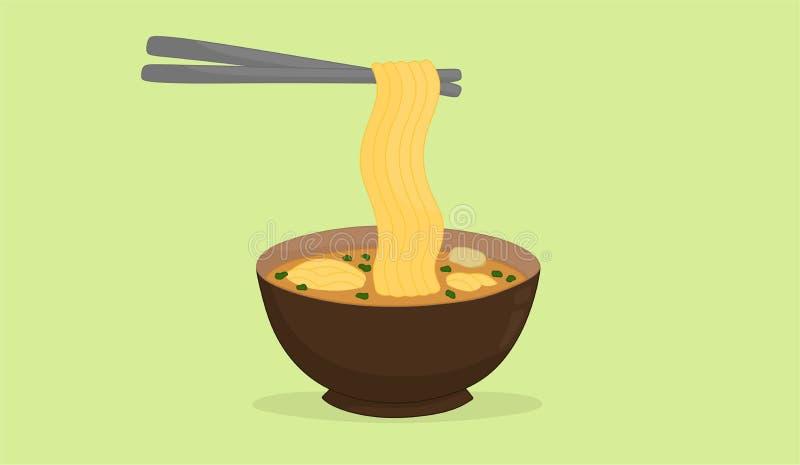Illustrazione semplice della tagliatella deliziosa sulla ciotola fotografie stock libere da diritti