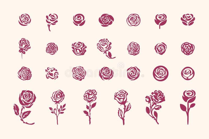 Illustrazione semplice di schizzo di simbolo rosa disegnato a mano di vettore su fondo leggero illustrazione di stock
