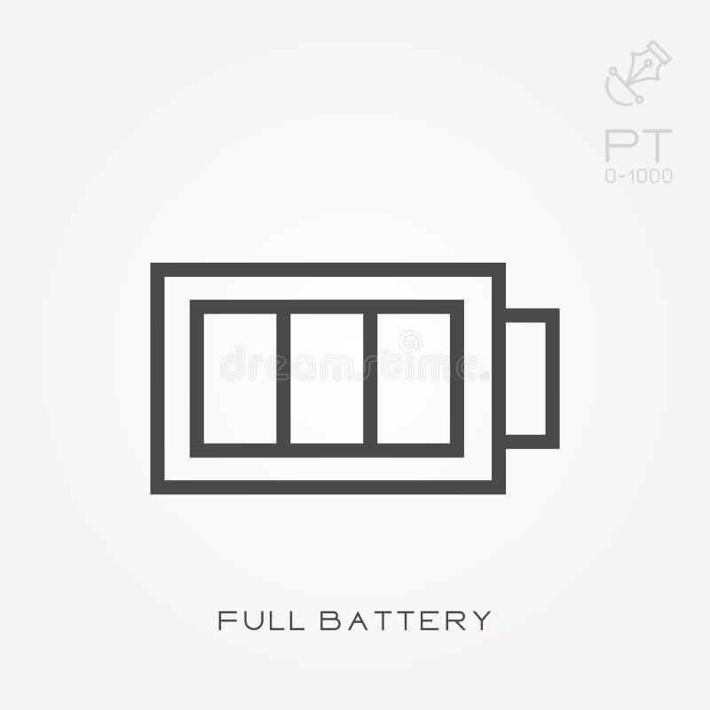 Illustrazione semplice di vettore con capacità di cambiare Linea batteria piena dell'icona illustrazione di stock