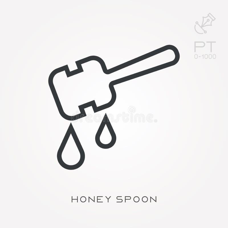 Illustrazione semplice di vettore con capacità di cambiare Linea cucchiaio del miele dell'icona royalty illustrazione gratis
