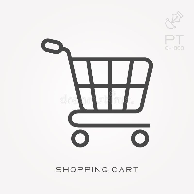 Illustrazione semplice di vettore con capacit? di cambiare Linea carrello dell'icona illustrazione vettoriale