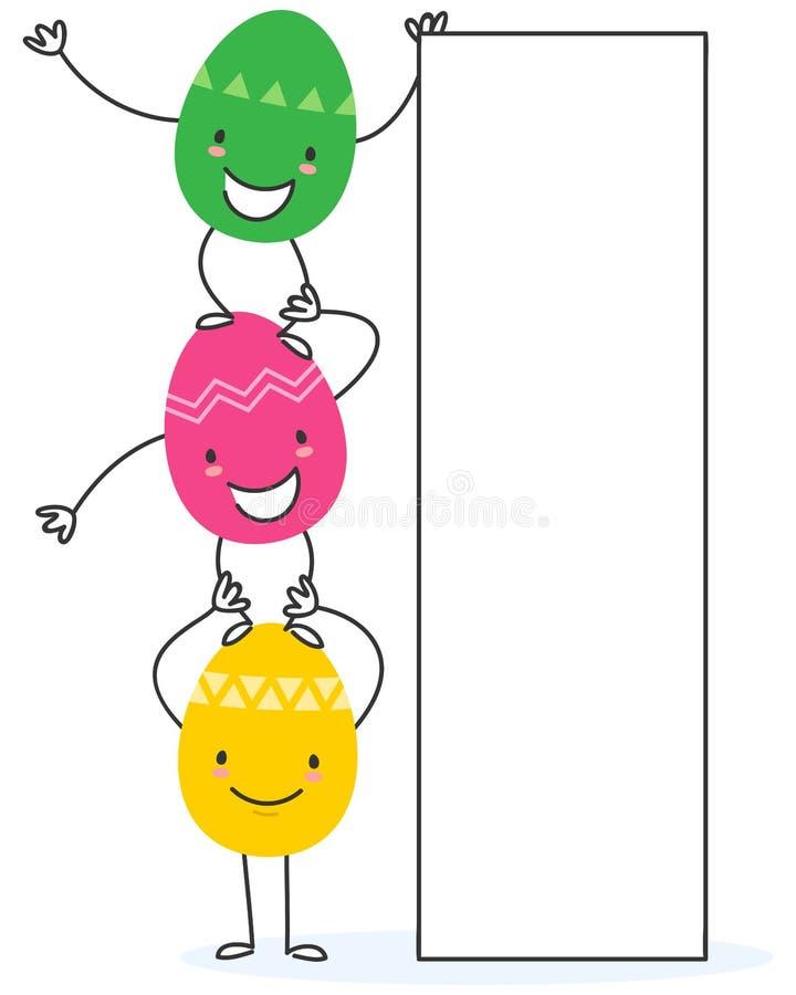 Illustrazione semplice di vettore dei personaggi dei cartoni animati piani variopinti dell'uovo di Pasqua di progettazione che te illustrazione vettoriale