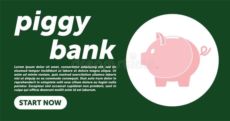 Illustrazione semplice di vettore del porcellino salvadanaio nello stile piano di linework Modello della pagina Web PORCELLINO SA royalty illustrazione gratis