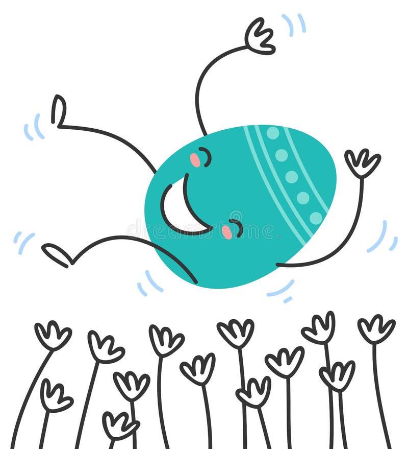 Illustrazione semplice di vettore di un personaggio dei cartoni animati piano variopinto dell'uovo di Pasqua di progettazione che royalty illustrazione gratis