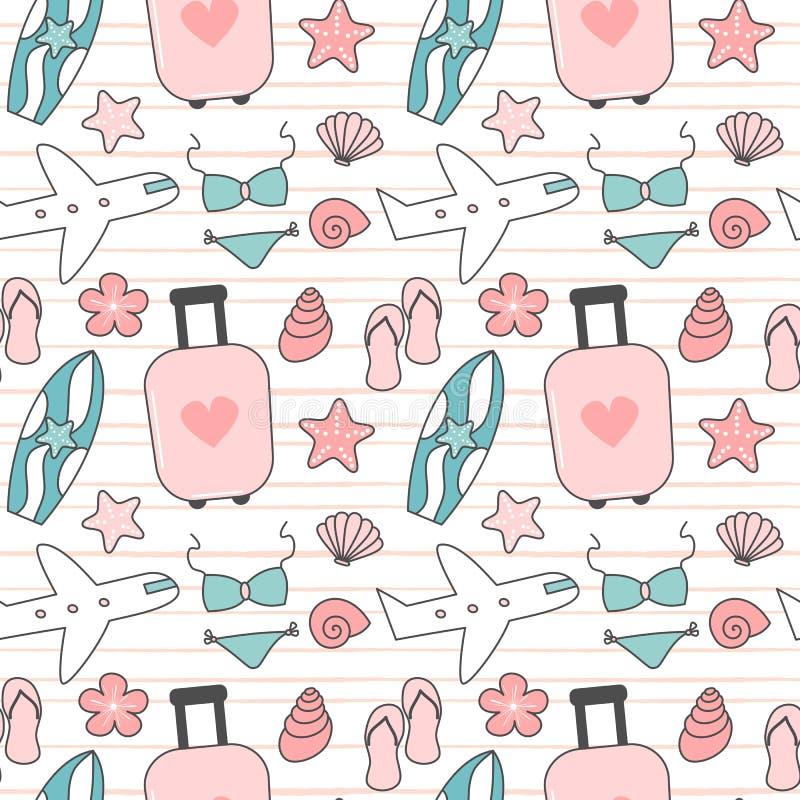 Illustrazione senza cuciture adorabile sveglia del fondo del modello di vettore di estate e di viaggio con la valigia, bikini, co illustrazione di stock