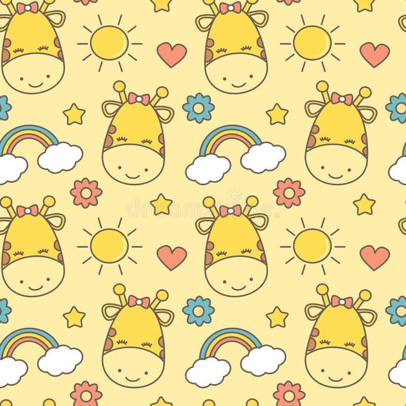 Illustrazione senza cuciture adorabile sveglia del fondo del modello di vettore per i bambini con la giraffa, il sole, l'arcobale illustrazione vettoriale