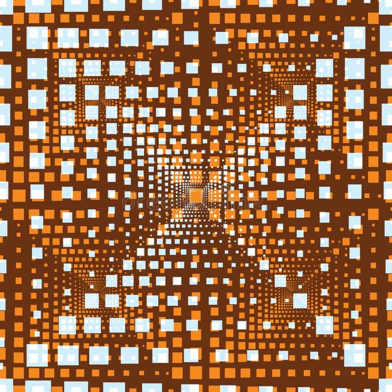 Illustrazione senza cuciture astratta del modello delle mattonelle rettangolari di illusione ottica illustrazione di stock