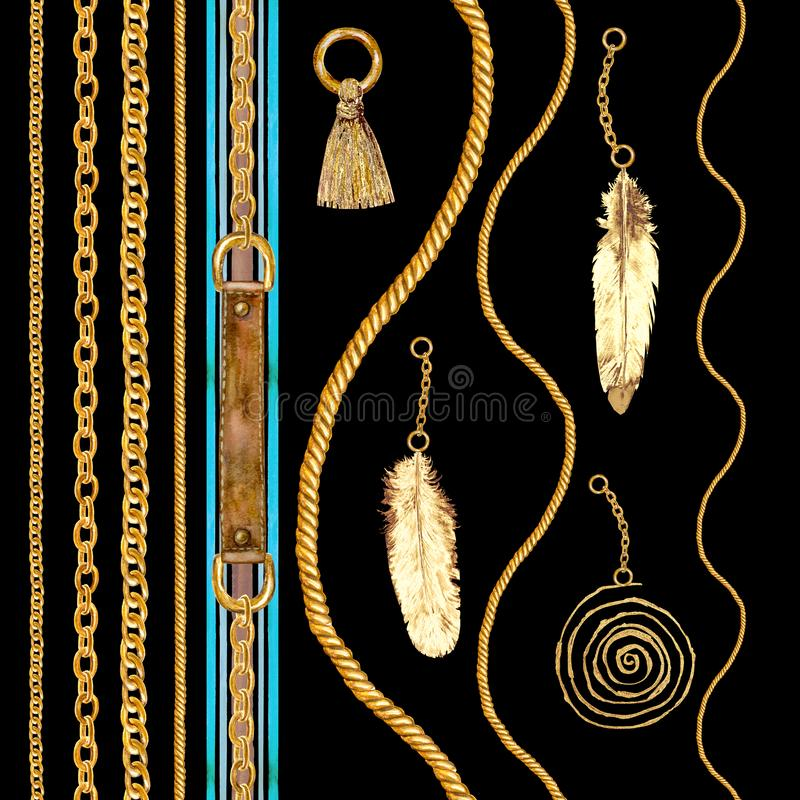Illustrazione senza cuciture a catena dorata del modello di fascino Struttura dell'acquerello con le catene dorate fotografie stock