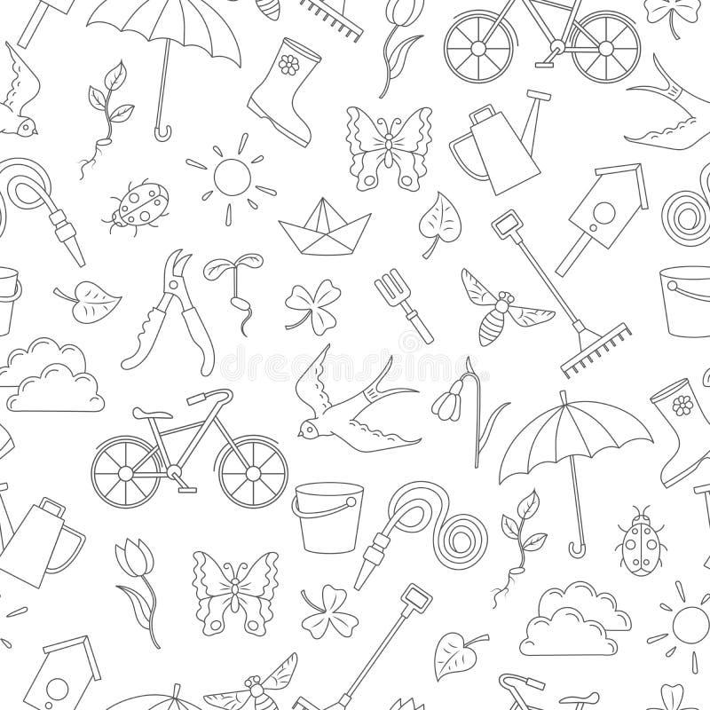 Illustrazione senza cuciture con le icone semplici di contorno sul tema della molla, profilo scuro su un fondo bianco royalty illustrazione gratis
