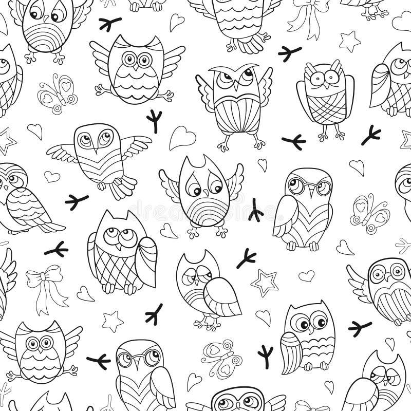 Illustrazione senza cuciture con le immagini di contorno dei gufi del fumetto illustrazione di stock
