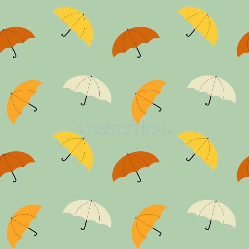 Illustrazione senza cuciture del fondo del modello dell'ombrello variopinto d'annata royalty illustrazione gratis